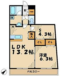 神奈川県川崎市麻生区片平1丁目の賃貸マンションの間取り
