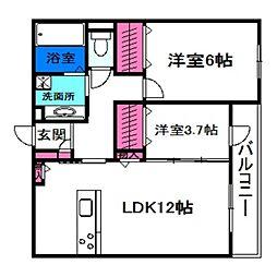 プルミエジュール帝塚山 1階2LDKの間取り
