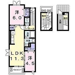 モデッサはる 3階2LDKの間取り