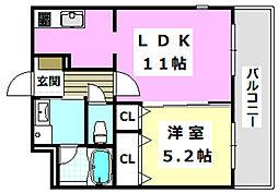 阪急京都本線 南茨木駅 徒歩10分の賃貸マンション 1階1LDKの間取り