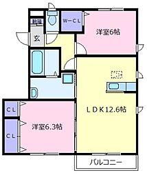 大阪府羽曳野市島泉9丁目の賃貸アパートの間取り