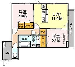 ファミユ C棟 3階2LDKの間取り