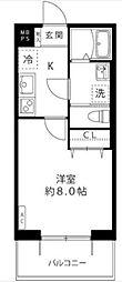 小田急多摩線 黒川駅 徒歩4分の賃貸マンション 1階1Kの間取り
