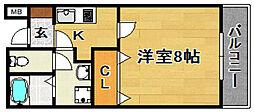 阪急京都本線 上新庄駅 徒歩8分の賃貸マンション 1階1Kの間取り