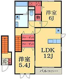 千葉県市原市東国分寺台3丁目の賃貸アパートの間取り