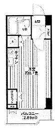 JR山手線 浜松町駅 徒歩9分の賃貸マンション 4階ワンルームの間取り
