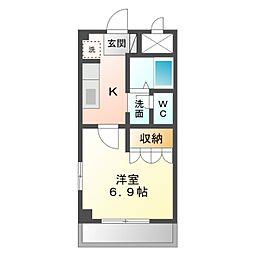 愛知県岡崎市柱3丁目の賃貸マンションの間取り
