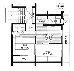 ビレッジハウス広江 2号棟[406号室]の間取り