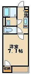 JR埼京線 南与野駅 3.1kmの賃貸アパート 2階1Kの間取り