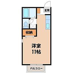 栃木県宇都宮市星が丘1丁目の賃貸アパートの間取り