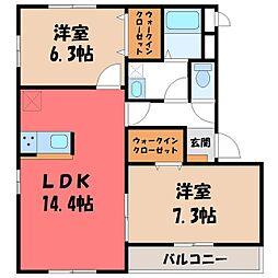 栃木県宇都宮市ゆいの杜4丁目の賃貸マンションの間取り