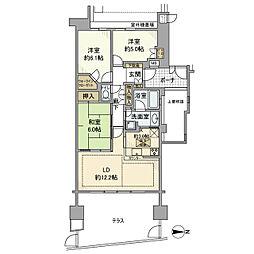 東急田園都市線 藤が丘駅 徒歩6分の賃貸マンション 1階3LDKの間取り