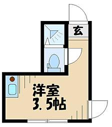 テラス永山 1階ワンルームの間取り