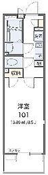 JR高崎線 北鴻巣駅 徒歩3分の賃貸マンション 3階1Kの間取り