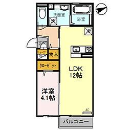D-roomFUJI 2階1LDKの間取り