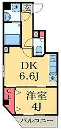 JR京葉線 蘇我駅 徒歩4分の賃貸マンション 4階1DKの間取り