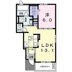 近鉄南大阪線 恵我ノ荘駅 徒歩25分の賃貸アパート 1階1LDKの間取り