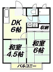埼玉県入間市宮前町の賃貸アパートの間取り