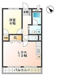 愛知県豊田市宮上町2の賃貸アパートの間取り