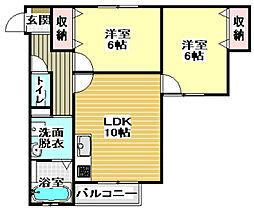 大阪モノレール 南摂津駅 徒歩5分の賃貸マンション 3階2LDKの間取り
