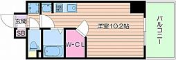 Osaka Metro御堂筋線 天王寺駅 徒歩10分の賃貸マンション 11階ワンルームの間取り