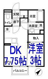 栃木県栃木市大宮町の賃貸アパートの間取り