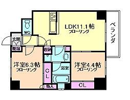 サニープレイス新梅田[6階]の間取り