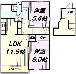 JR五日市線 秋川駅 徒歩11分の賃貸アパート 2階2LDKの間取り