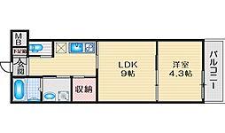 パロス豊中曽根グランツ 2階1LDKの間取り