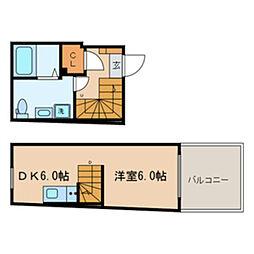 東京メトロ東西線 落合駅 徒歩3分の賃貸マンション 4階1DKの間取り
