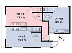 東急目黒線 不動前駅 徒歩9分の賃貸アパート 2階ワンルームの間取り