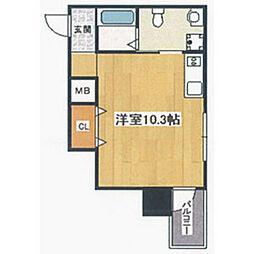 阪堺電気軌道阪堺線 妙国寺前駅 徒歩1分の賃貸マンション 9階ワンルームの間取り