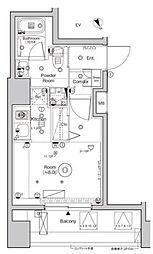シーフォルム西大井 11階ワンルームの間取り