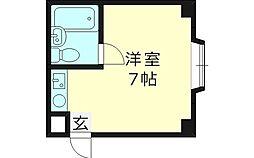 シンエイ野江 1階ワンルームの間取り
