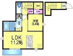 JR総武線 本八幡駅 徒歩19分の賃貸アパート 2階1LDKの間取り
