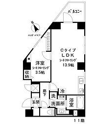 アイディ西五反田 11階1LDKの間取り