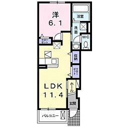 JR東海道本線 豊橋駅 バス21分 牛川下車 徒歩4分の賃貸アパート 1階1LDKの間取り