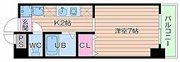 大阪府大阪市中央区東心斎橋2丁目の賃貸マンションの間取り
