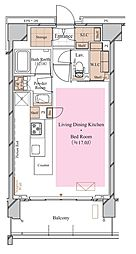 京急空港線 糀谷駅 徒歩4分の賃貸マンション 2階ワンルームの間取り