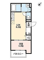 Osaka Metro今里筋線 だいどう豊里駅 徒歩8分の賃貸アパート 2階1LDKの間取り