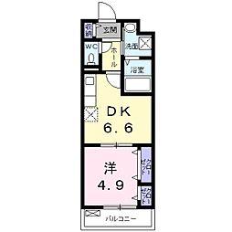 南海線 泉大津駅 徒歩10分の賃貸アパート 3階1DKの間取り