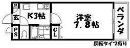 大阪府枚方市牧野阪3丁目の賃貸マンションの間取り