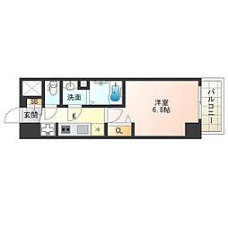 阪神なんば線 九条駅 徒歩4分の賃貸マンション 10階1Kの間取り