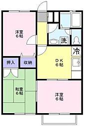 神奈川県横浜市青葉区藤が丘1丁目の賃貸アパートの間取り