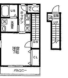 埼玉県草加市谷塚1の賃貸アパートの間取り