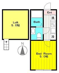 小田急小田原線 生田駅 徒歩6分の賃貸アパート 1階1Kの間取り