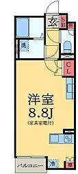 JR総武線 稲毛駅 徒歩15分の賃貸アパート 2階1Kの間取り