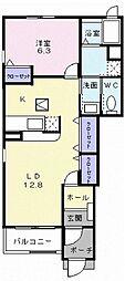 JR御殿場線 足柄駅 徒歩5分の賃貸アパート 1階1LDKの間取り