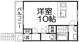 宮之阪1丁目アパート[2階]の間取り