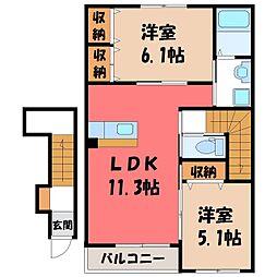 茨城県古河市水海の賃貸アパートの間取り
